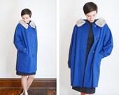 1960s Cobalt Blue Wool Coat  - M