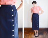 Navy Blue Wool Pencil Skirt - S/M