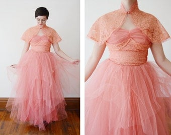 1950s Pink Tulle Party Dress with matching Hat and Capelet - S