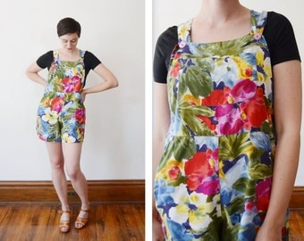 1980s Rayon Floral Short Overalls - S