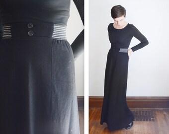 Black 1970s Jersey Maxi Skirt - S/M