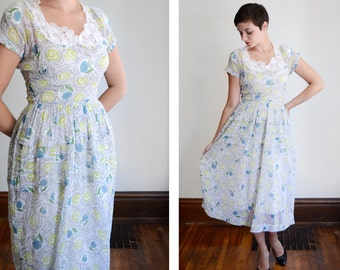 1940s Sheer Floral Dress - S/M