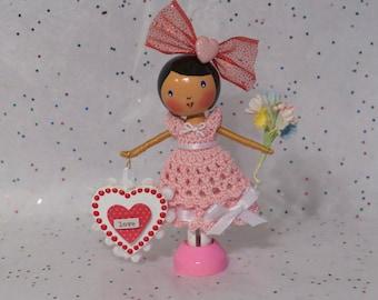 Valentine Love - Clothespin Doll