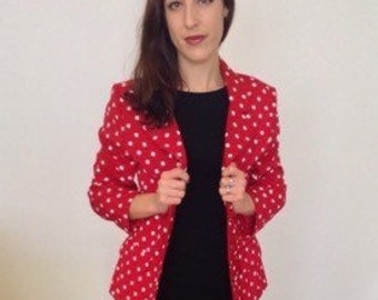 French vintage 1990s red jacket with white polka dots - medium M