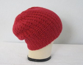 Red Slouchy Hat. Hand Knit Beanie in Baby Alpaca. Size Large. Chunky Accessories.