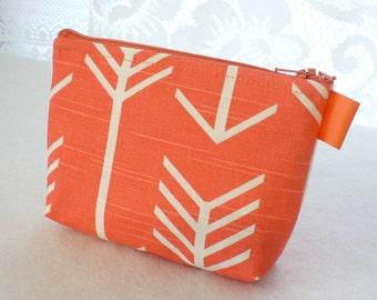 Coral White Arrow Fabric Gadget Pouch Cosmetic Bag Zipper Pouch Makeup Bag Cotton Zip Pouch Salmon MTO