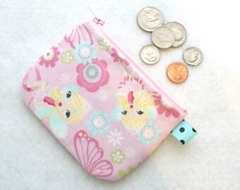 Cute Fabric Girls Coin Purse Pink Glitter Mod Fairy Flowers Mini Zipper Change Purse Pastel Aqua Fairies Butterfly Kawaii Handmade