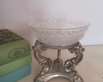 upcycled Gothic Revival Pedestal ring / Trinket bowl~ Candle Stand Holder ~ Silver and glass