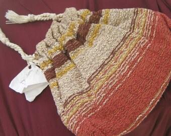 1930 Vintage Hand-Made Drawstring WOVEN Fabric HANDBAG (Garden Tool Bag)