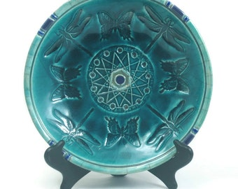 Raku Dragonfly Butterfly Sacred Geometry  Bowl Pottery