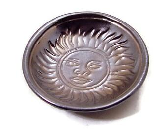 Handmade  Pottery SUN Offering Bowl Gold
