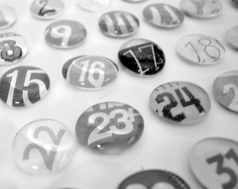 LARGE - 31 black and white number magnet or push pin set- made from recycled magazines, 2018 perpetual calendar, teacher, classroom