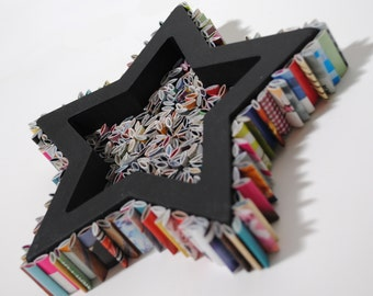 SMALL colorful STAR wall art  - brightly colored recycled magazine - made from recycled magazines, colorful, unique, modern, bright