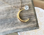 Crescent Moon Necklace, Moon Phases, Gold Moon Necklace, Moonstone Pendant, Astrology Jewelry, Bohemian Moon Jewelry, Layering Moon Necklace