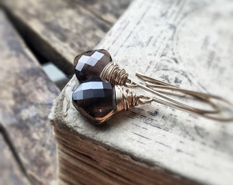 Smoky Quartz Earrings - Gold Earrings - Chocolate Gemstones - Quartz Earrings - Dangle and Drop - Simple Classic Design - Free Shipping