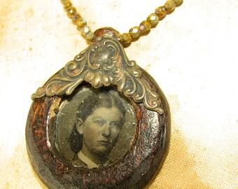 Handmade Wooden 1800s Tin Type Portrait Frame