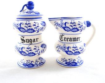 Vintage Blue Onion Sugar & Creamer Set