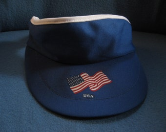 Vintage, Red White and Blue, USA, American Flag Visor, 4th Of July