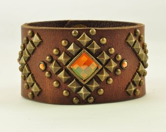 Studded Cuff with Copper Chessboard Crystal and Antique Copper Pyramid Studs