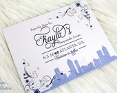 Masquerade in the City Postcard Save the Date Cards | Mask | Flourish | Blue | Silver | Mask | City | Skyline