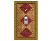 0760b  Red and Gold Diamond Bkgd Switchplate  mrs butler (choose configuration & price in drop down box)