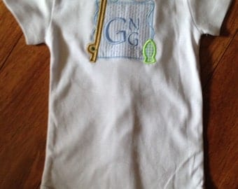 Baby, Toddler's monogrammed and appliqued onesie