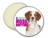 Brittany Spaniel ORIGINAL NOSE BUTTER® Handcrafted Organic Balm For Dry Cracked Crusty Dog Noses 8 oz. Tin with Brittany Label in Gift Bag