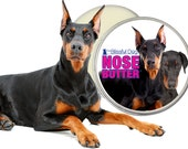 Doberman Pinscher ORIGINAL NOSE BUTTER® Moisturizing Handcrafted Salve for Dry or Crusty Dog Noses 1 oz. Tin with Dobie on Label