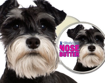 Schnauzer ORIGINAL NOSE BUTTER® All Natural Moisturizing Balm for Dry Dog Noses Choice of 1 oz, 2 oz & 4 oz Tin with a Schnauzer on Label