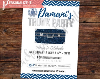 Trunk Party Invitation Going Away College High School Graduation Template // Personalized Printable Download // Custom Color // 5x7 -OR- 4x6