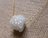 Barrel Druzy Necklace. Gold Filled. White. Gemstone Necklace. Snow White Purity. Talisman Jewelry. Handmade Necklace.
