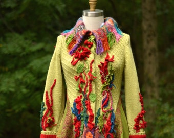 Long boho Sweater COAT, fantasy wearable art clothing, up cycled one of a kind Eco-Couture. Size S/M. Ready to ship
