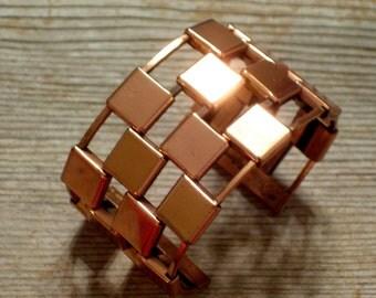 Renoir Cuff Bracelet, Vintage RENOIR Copper Cuff, Vintage Copper Bracelet, Bold Modernist Geometric Wide Cuff Bracelet, The Copper Cat