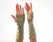 Pale Green Arm Warmers Winter Gloves Fingerless Gloves Winter Gloves Hand Knit Winter Accessories Winter Fashion
