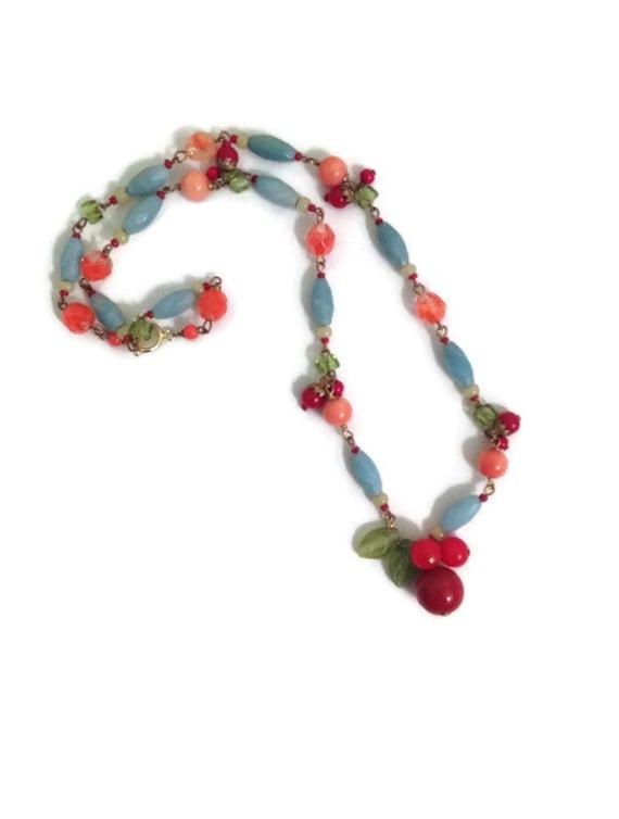 RESERVED FOR K. Vintage necklace, short, beaded, aqua blue, red, pink color beads, gift for her