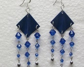 Beaded Earrings, Royal Blue and Silver, Kite Shaped, Silver Plated Ear Wires.