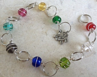 Knitting Row Counter - Rainbow Beads - Bracelet - Matching Knitting Stitch Markers Available - Last One