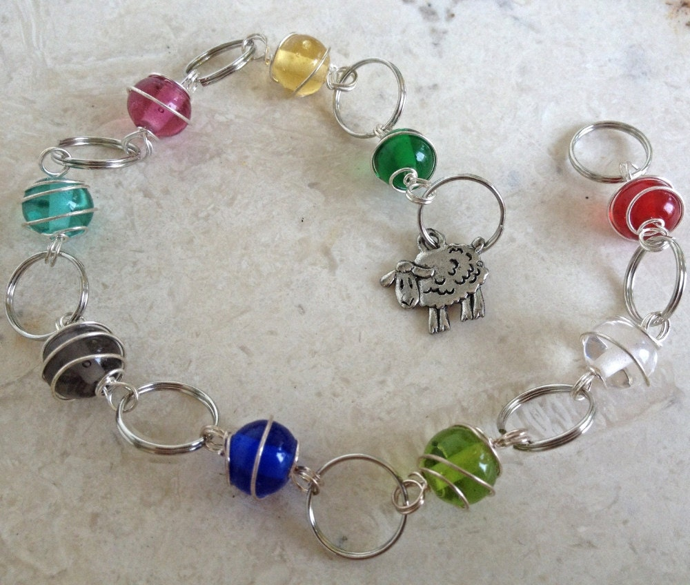 Knitting Row Counter Bracelet : Knitting row counter rainbow beads bracelet matching