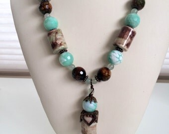 Mint Green and Brown Faceted Agate Necklace