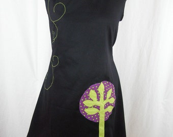 Dress Merlin tree black and purple polka dots