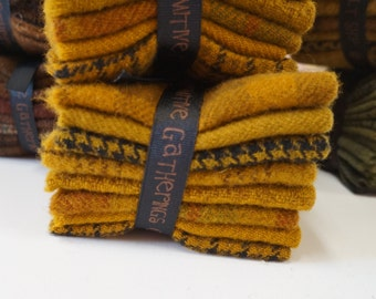Mustard Hand dyed felted wool in a range of Mustard tones - textures perfect rug hooking and applique wool Primitive Gatherings Wool
