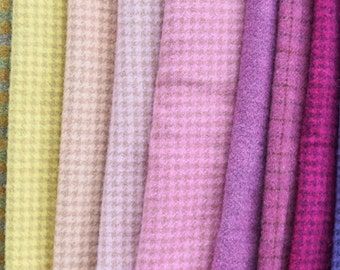 Pink - Turquoise - Yellow - Green - Pastel Hand Dyed Felted Wool Fabric in a Beautiful Collection of Colors a Perfect Rug Hooking Wool