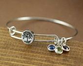 Tree of Life Bangle, Family Tree Bangle, Birthstone Bracelet, Stainless Steel Bangle, Family Tree Bracelet, Tree of Life Bracelet