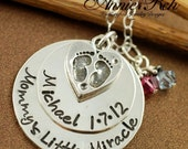 ON SALE Personalized Necklace with Heart, Custom Hand Stamped Necklace, Baby Feet Necklace, Push Present, Mommy Necklace