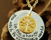 ON SALE Hand Stamped Jewelry - Personalized Jewelry - Necklace, Be the change,  Sterling Silver Jewelry