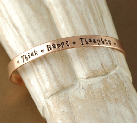 Think Happy Thoughts, Cuff Bracelet, Personalized Bracelets, Peter Pan Quote, Uplifting Jewelry, Inspirational Bracelets
