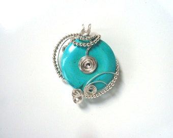 Silver & Turquoise Pendant, Wire Wrapped Gemstone
