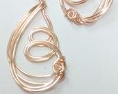Gold dangle earrings, wire wrapped earrings