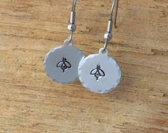 Bee Earrings - Metal stamped Jewelry - Hand Stamped Jewelry - Metal Stamped Earrings- Bees
