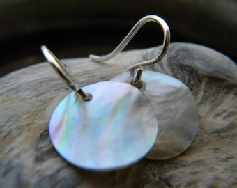 Sterling silver and round mother of pearl shell disk earrings - handmade jewelry